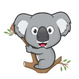 Koala on a tree. Clipart picture of a koala cartoon character on a tree Royalty Free Stock Images