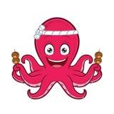 Octopus with takoyaki. Clipart picture of an octopus cartoon character with takoyaki vector illustration