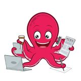 Octopus multitasking Stock Photography