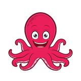 Smiling octopus. Clipart picture of a smiling octopus cartoon character vector illustration
