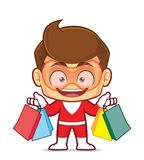 Superhero holding shopping bags. Clipart picture of a superhero cartoon character holding shopping bags Stock Image