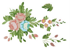clipart pink flowers blue flowers leaves Stock Photos