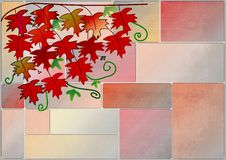 Clipart with red vine leaves on a wall Royalty Free Stock Image