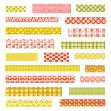 Clipart retro da fita do washi dos testes padrões Fotografia de Stock