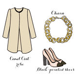 Clipart -  set -  fashion classic items - fashion set Royalty Free Stock Photos
