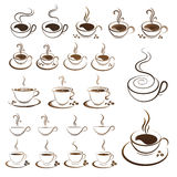 Clipart set hot coffee cup vector Stock Photo