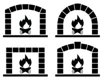 Vector clipart set of ovens with burning fire. Vector black and white clipart set of ovens with burning fire Stock Photography