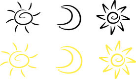 Clipart-Set: Sun, moon and star. Simple illustration of sun, moon and star; two color versions included Royalty Free Stock Images