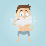 Clipart of a shaving man. Funny clipart of a shaving man Royalty Free Stock Photography