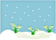 Clipart with snowdrops Royalty Free Stock Photos