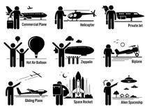Clipart stabilito dei veicoli e della gente del trasporto di aria illustrazione vettoriale