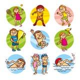 Clipart stabilito di vettore di sport dei bambini del fumetto royalty illustrazione gratis