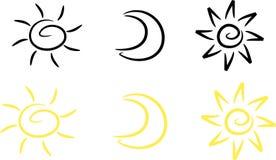 Clipart-Stellen Sie ein: Sun, Mond und Stern Lizenzfreie Stockbilder