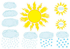 Clipart with the sun and clouds Stock Photography