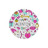 Clipart of the symbols of Valentine`s Day for postcards. stock illustration