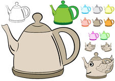 Clipart with teapots Stock Image