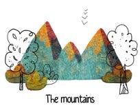 Clipart tiré par la main coloré avec des montagnes, des arbres et des buissons illustration libre de droits