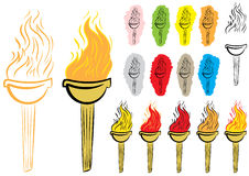 Clipart with torches. Clipart with various torches with fire and contours Royalty Free Stock Photo