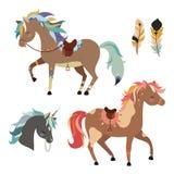 Clipart tribal de los caballos Ilustración del vector aislada en el fondo blanco Imágenes de archivo libres de regalías