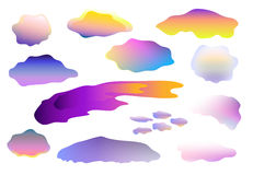 Clipart variopinto delle nuvole su fondo bianco, nuvole su bianco Fotografia Stock Libera da Diritti