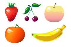 Clipart variopinto di frutti nello stile piano dei fumetti su bianco Fotografia Stock Libera da Diritti