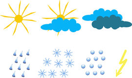 Clipart for weather icons. Yellow sun and lightning, blue and dark blue clouds, raindrops, snowflakes, hail. Objects on white, vector Stock Photos