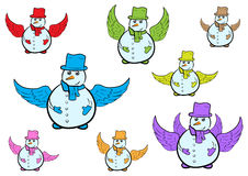 Clipart with winged snowmen Royalty Free Stock Photo