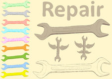 Clipart with wrenches Stock Photo