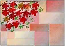 Clipart z czerwonym winogradem opuszcza na ścianie Obraz Royalty Free