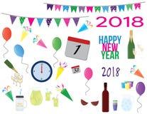 2018 cliparts de partie du ` s de nouvelle année Photos stock