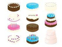 11 cliparts (images graphiques) de gâteau d'anniversaire Photos stock