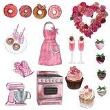 Cliparts kolekcja valentine, retro kuchnia i piekarnia ustawia - babeczki, donuts, kuchenka, Kuchenna pomoc - grupa przedmioty - ilustracja wektor