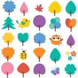 Clipartsatz der Bäume im Frühjahr Stockfoto