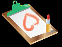 Clipboard ,Lipstick and heart shape. Clipboard ,Lipstick and heart on black background Stock Image