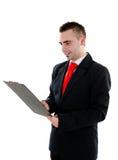 clipboard бизнесмена Стоковая Фотография
