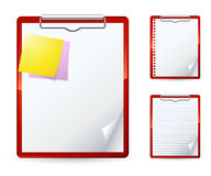 Clipboard. Set of three clipboards. Clipart illustration Royalty Free Stock Photos