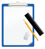 Clipboard. With pencil and ruler Stock Image