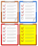 Clipboard. Illustration of clipboards. Different types of checklist Royalty Free Stock Photos