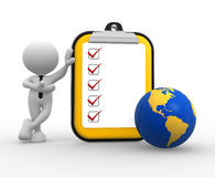 Clipboard. 3d people - man, person with clipboard and earth globe Royalty Free Stock Photo