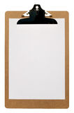 Clipboard. With a blank piece of A4 paper isolated on a white background with clipping path Stock Photo