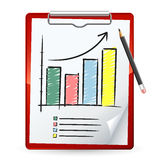 Clipboard. With a graph on it royalty free illustration