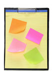 Clipboard with Adhesive Note Papers Royalty Free Stock Photo