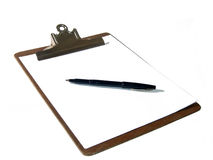 Clipboard And Pen Royalty Free Stock Photography