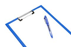 Clipboard and ballpoint pen Royalty Free Stock Image