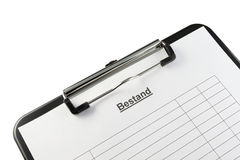 Clipboard Bestand (German) Stock Images