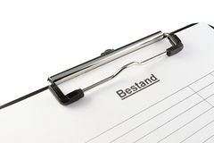 Clipboard Bestand (German, Close) royalty free stock photos