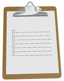 Clipboard with blank checklist. On a white background Stock Photo