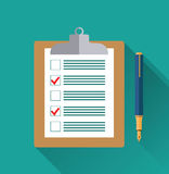 Clipboard with blank checklist form,. Clipboard with blank checklist form and pen, to-do list and planning project with office supplies. Flat icon modern design royalty free illustration