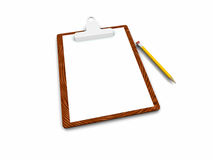 Clipboard with blank page. 3d clipboard with blank page Royalty Free Stock Images
