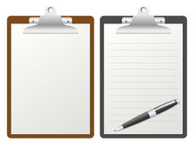 Clipboard with Blank Paper. In two different versions (blank and lined with pen), isolated on white background. Eps file available Royalty Free Stock Photos